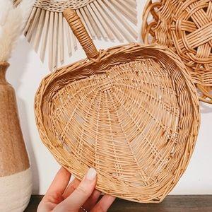 Vintage Wicker Heart Shaped Handle Basket Boho
